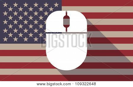 Long Shadow Vector Usa Flag Icon With A Wireless Mouse