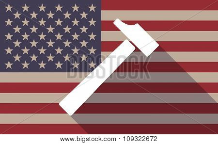 Long Shadow Vector Usa Flag Icon With A Hammer