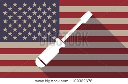 Long Shadow Vector Usa Flag Icon With A Screwdriver