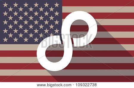 Long Shadow Vector Usa Flag Icon With An Infinite Sign