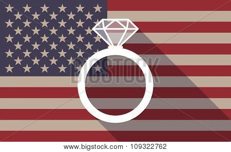 Long Shadow Vector Usa Flag Icon With An Engagement Ring
