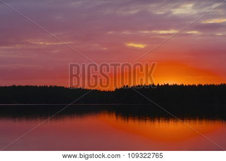 Sunset At Lake.