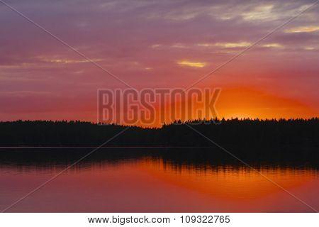 Sunset At Lake.