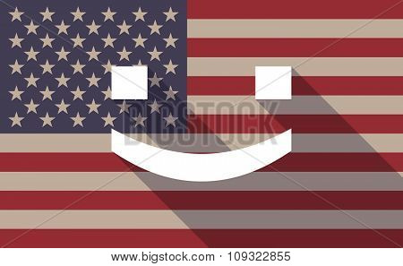 Long Shadow Vector Usa Flag Icon With A Smile Text Face