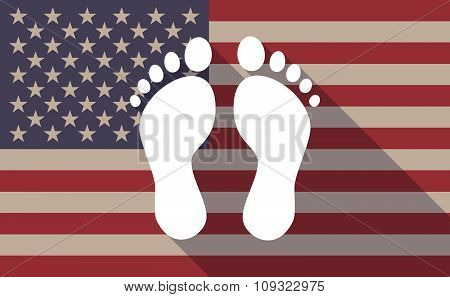Long Shadow Vector Usa Flag Icon With Two Footprints