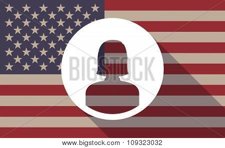 Long Shadow Vector Usa Flag Icon With A Female Avatar