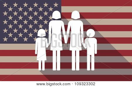Long Shadow Vector Usa Flag Icon With A Lesbian Parents Family Pictogram