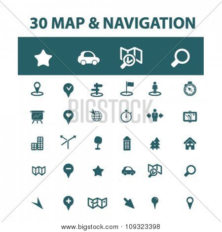 map, location, route  icons, signs vector concept set for infographics, mobile, website, application