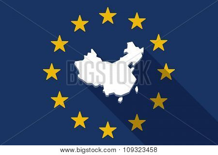 European Union  Long Shadow Flag With  A Map Of China