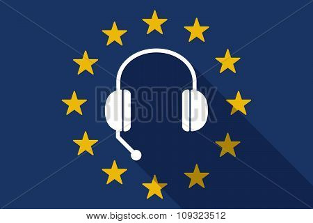 European Union  Long Shadow Flag With  A Hands Free Phone Device