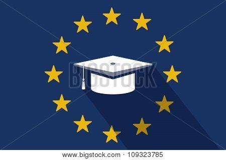 European Union  Long Shadow Flag With A Graduation Cap
