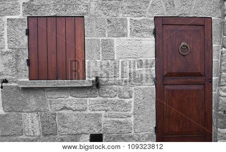 Wall With Door And Window