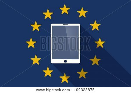European Union  Long Shadow Flag With A Tablet Computer