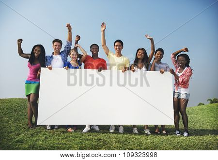 Group Friends Outdoors Holding Placard Concept