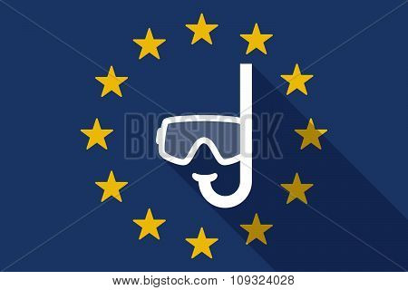 European Union  Long Shadow Flag With A Diving Goggles