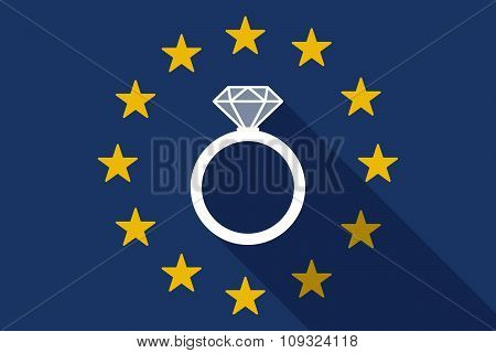 European Union  Long Shadow Flag With An Engagement Ring