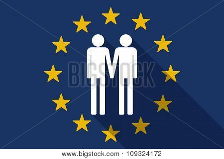 European Union  Long Shadow Flag With A Gay Couple Pictogram