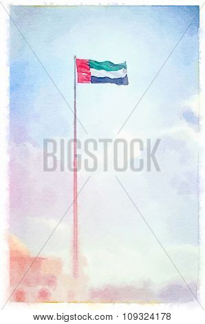 Flag of United Arab Emirates painted in watercolor.
