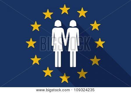 European Union  Long Shadow Flag With A Lesbian Couple Pictogram