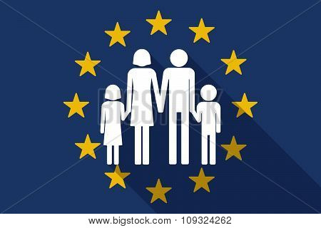 European Union  Long Shadow Flag With A Conventional Family Pictogram