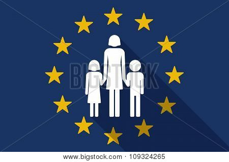 European Union  Long Shadow Flag With A Female Single Parent Family Pictogram