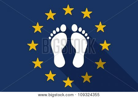 European Union  Long Shadow Flag With Two Footprints