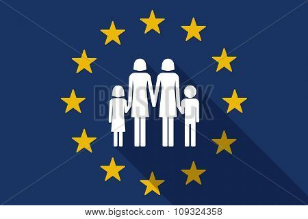 European Union  Long Shadow Flag With A Lesbian Parents Family Pictogram