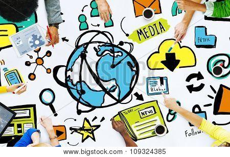 Diversity Casual People Media Teamwork Brainstorming Concept