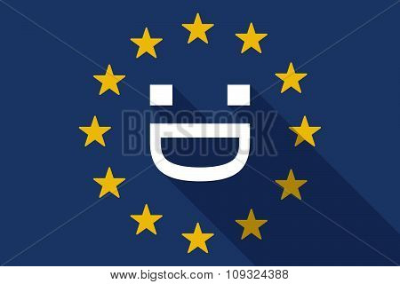 European Union  Long Shadow Flag With A Laughing Text Face