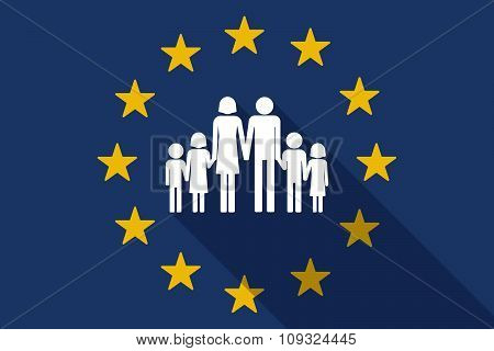 European Union  Long Shadow Flag With A Large Family  Pictogram