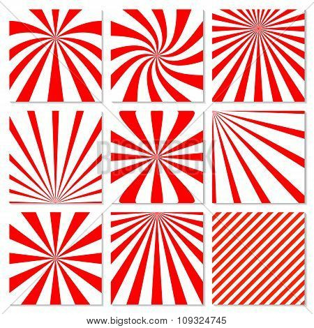 Abstract starburst red background. Radial lines in set. Vector c