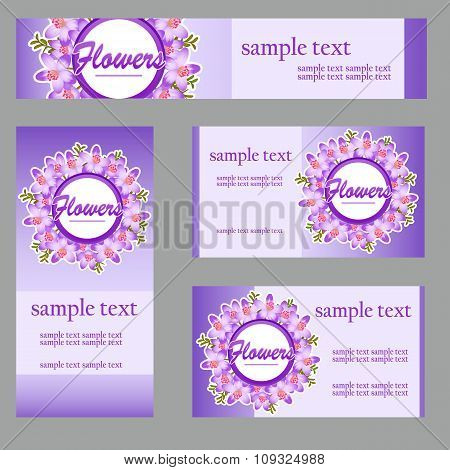 Set of four cards with buttercup disign in the same style for your business needs