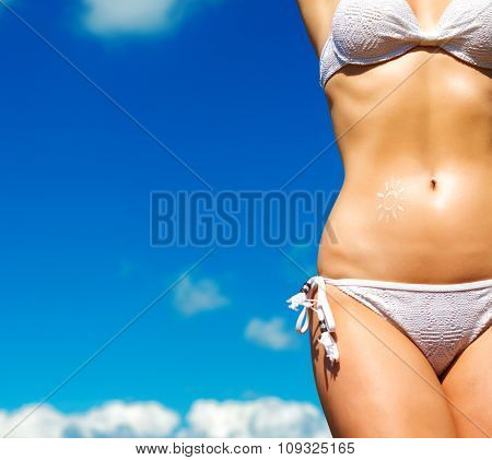 Sexy Female Body On Sky Background. Space For Your Text.