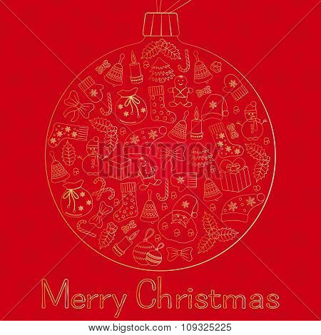 Christmas ball greeting card with text Merry Christmas and many winter doodles. Santa, toys, cookies
