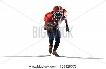 American football player in action isolated on white