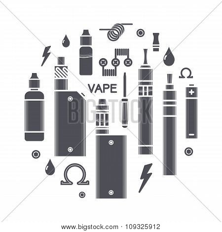 Vector Illustration Of Vape Icons