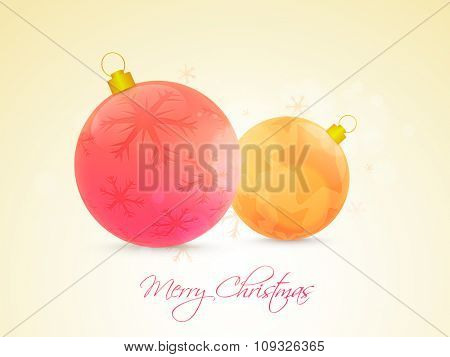 Greeting card design with creative Xmas Balls on snowflakes decorated glossy background for Merry Christmas celebration.