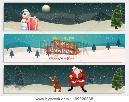 Creative website header or banner set with beautiful ornaments for Merry Christmas and Happy New Year celebration.