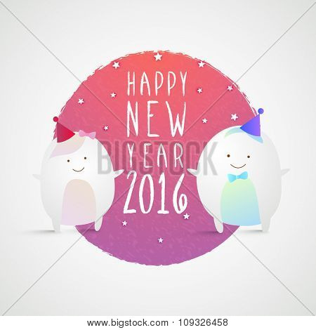 Beautiful greeting card design with cute couple of Penguin for Happy New Year 2016 celebration.