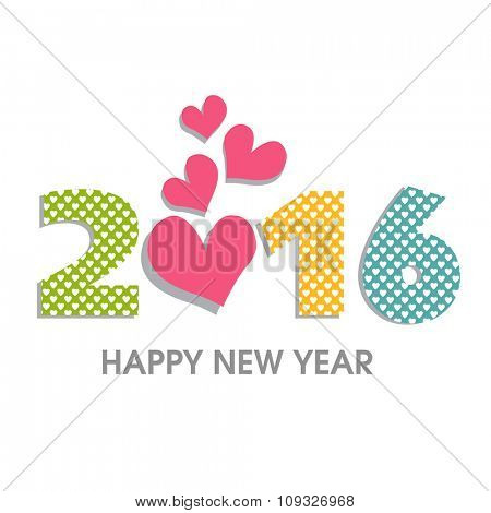 Colorful creative text 2016 with pink hearts on white background for Happy New Year celebration.