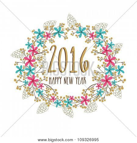 Colorful creative flowers and leaves decorated greeting card design for Happy New Year 2016 celebration.