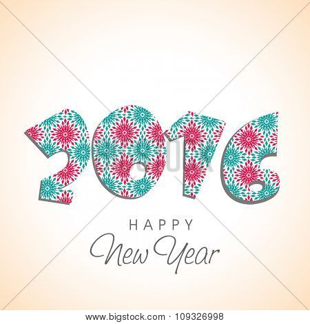 Colorful text 2016 made by snowflakes on glossy background for Happy New Year celebration.