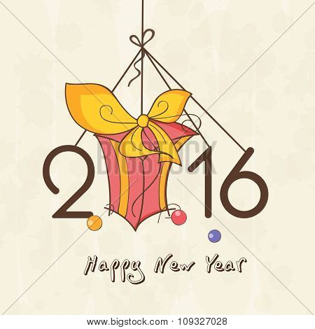 Stylish hanging text 2016 with gift for Happy New Year celebration.