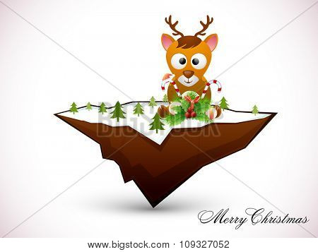 Cute reindeer with glossy ornaments, sitting on floating island for Merry Christmas celebration.