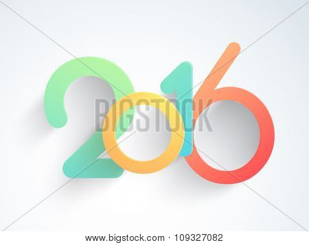 Colorful stylish text 2016 on glossy background for Happy New Year celebration.