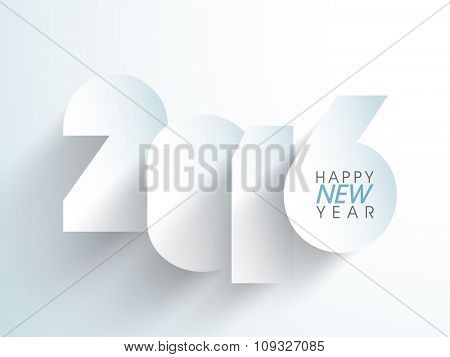 Stylish paper text 2016 on glossy sky blue background for Happy New Year celebration.
