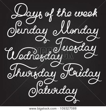 Handwritten days of the week: Sunday, Monday, Tuesday, Wednesday, Thursday, Friday, Saturday. Calligraphy words for calendars and organizers. Stock vector lettering typography