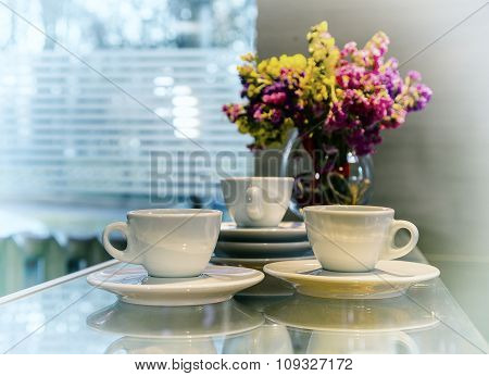 Three Cups Of Coffee Against The Window, Vintage