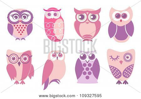 Set of cartoon pink owls. Vector illustration of cartoon owls in baby pink colors.