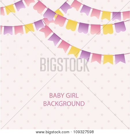 Cute vintage textile pink and violet bunting flags for girl's baby shower background. Cute flag garlands on polka dot background
